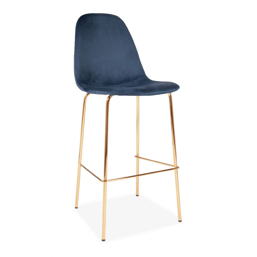 x2 Eiffel Deep Blue Velvet Barstools, with Gold Legs
